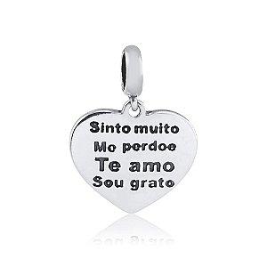 Berloque de Prata Coração Sinto Muito, Me Perdoe, Te Amo, Sou Grato
