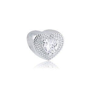Berloque de Prata Separador Coração com Zircônia