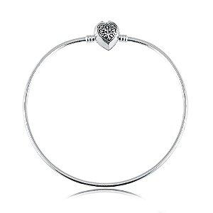 Pulseira Bracelete Berloque Rígido Coração Árvore