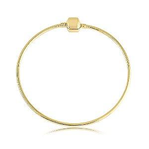 Pulseira Bracelete Berloque Rígido Folheado a Ouro