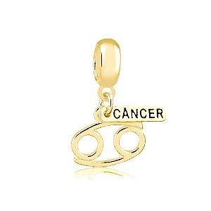Berloque Pingente Signo Câncer Folheado a Ouro