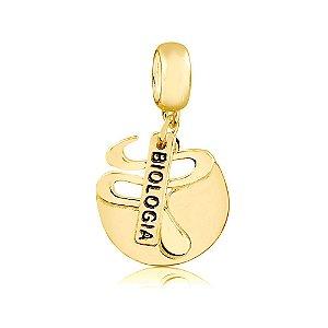 Berloque Símbolo Biologia Folheado a Ouro