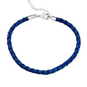 Pulseira Berloque Couro Azul Regulável