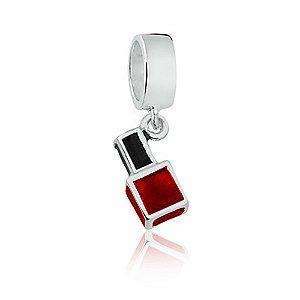 Berloque de Prata Esmalte Vermelho