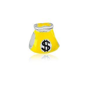 Berloque de Prata Saco de Dinheiro Amarelo