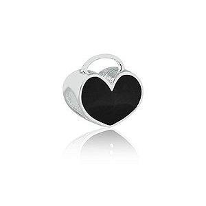 Berloque de Prata Coração Preto