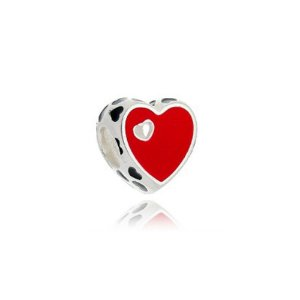 Berloque de Prata Coração Vermelho Vazado