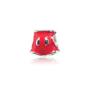 Berloque Short Vermelho Folheado