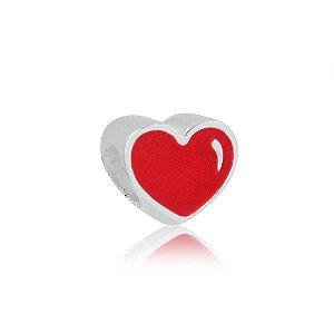 Berloque de Prata Coração Vermelho