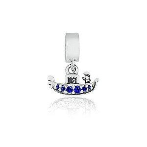 Berloque de Prata Gôndola com Zircônia Azul