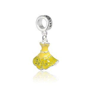 Berloque de Prata Vestido Princesa Amarelo