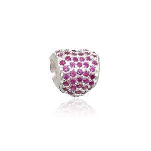 Berloque de Prata Coração com Zircônias Rosa