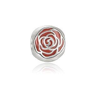 Berloque de Prata Separador Rosa Vermelha