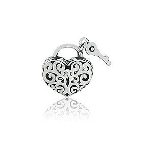 Berloque de Prata Coração com Chave