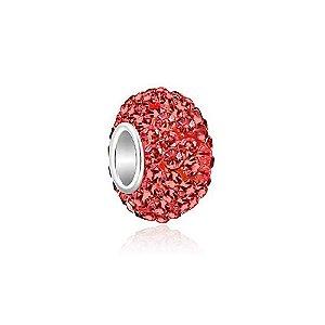Berloque de Prata Separador Brilhante Vermelho