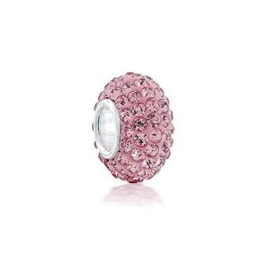 Berloque de Prata Separador Brilhante Rosa