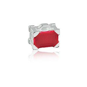 Berloque de Prata Mala de Viagem Vermelha