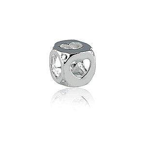 Berloque de Prata Cubo Corações