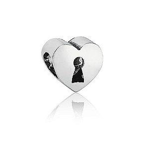 Berloque de Prata Coração Cadeado