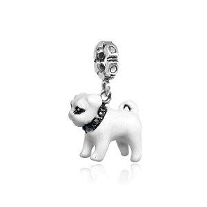 Berloque de Prata Bulldog Branco