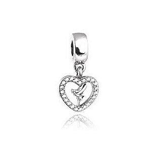 Berloque de Prata Coração Sininho com Zircônias