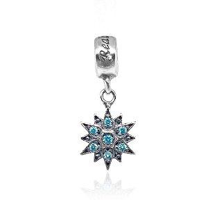Berloque de Prata Estrela com Zircônias Azuis