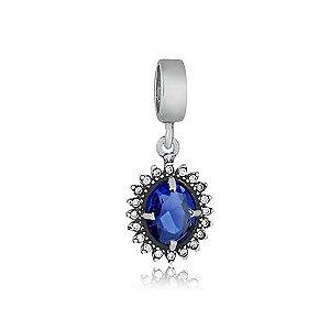 Berloque de Prata Pingente Oval Azul com Zircônias