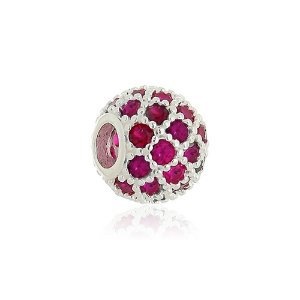 Berloque de Prata Separador Rede Zircônias Rosa