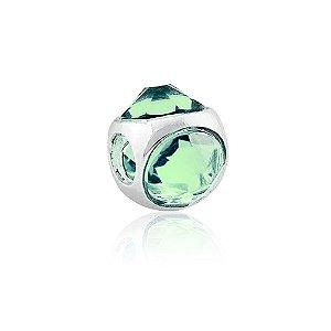 Berloque de Prata Separador Cristal Verde