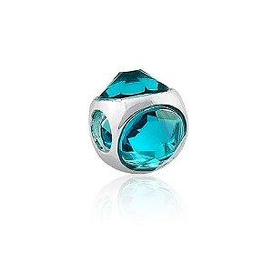Berloque de Prata Separador Cristal Azul Turquesa