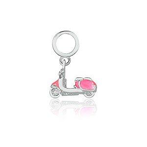 Berloque de Prata Moto Lambreta Rosa