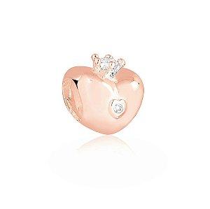 Berloque Rosé Coração Coroa Princesa