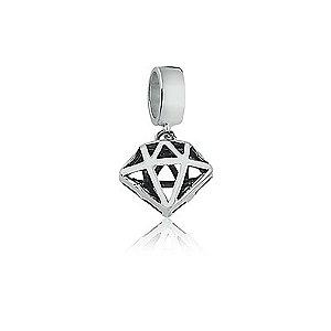Berloque de Prata Pingente Diamante