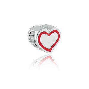 Berloque de Prata Coração Listra Vermelha