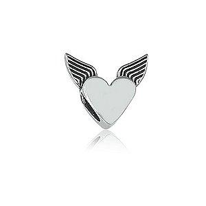 Berloque de Prata Coração com Asas