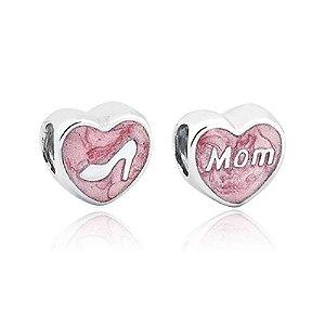 Berloque de Prata Coração de Mãe Rosa