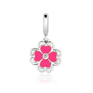 Berloque de Prata Flor Rosa com Zircônia