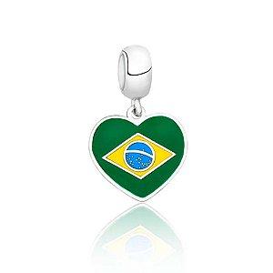 Berloque de Prata Bandeira do Brasil
