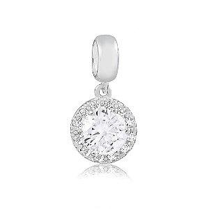 Berloque de Prata Pingente Brilhante Cristal