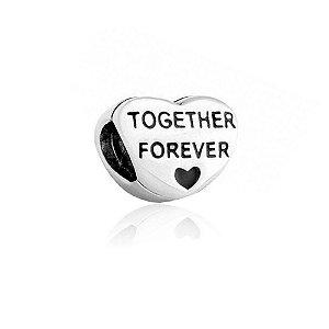 Berloque de Prata Juntos Para Sempre