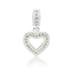 Berloque de Prata Pingente Coração com Zircônias Cristal