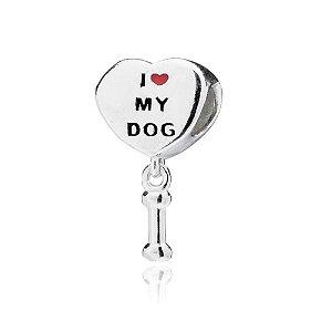 Berloque de Prata Coração I Love My Dog