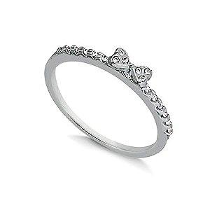 Anel de Prata Laço Cravejado