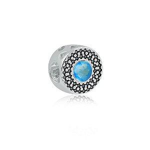 Berloque de Prata Separador Zircônia Azul Safira