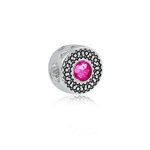 Berloque de Prata Separador Zircônia Rosa