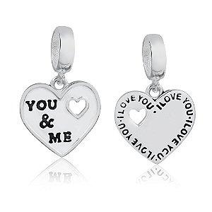 Berloque de Prata Coração You & Me