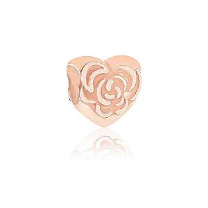 Berloque Rosé Coração com Rosa