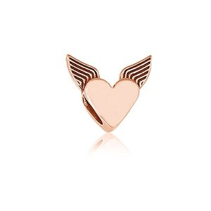 Berloque Rosé Coração com Asas