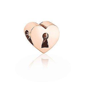 Berloque Rosé Coração Cadeado