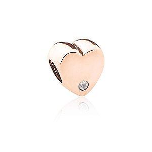 Berloque Rosé Coração com Zircônia